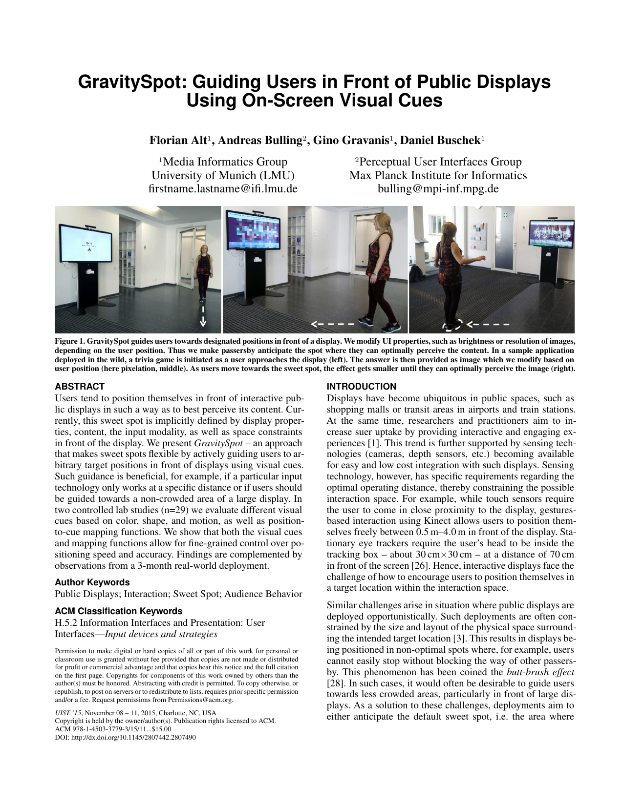 GravitySpot: Guiding Users in Front of Public Displays Using On-Screen Visual Cues