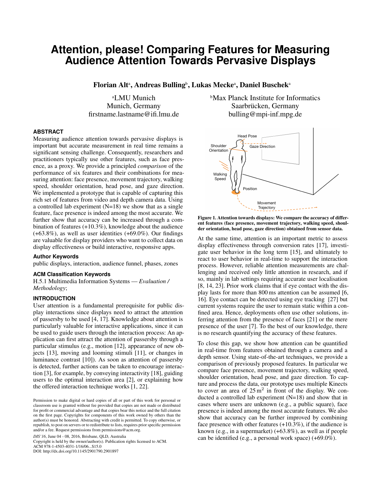 Attention, please! Comparing Features for Measuring Audience Attention Towards Pervasive Displays