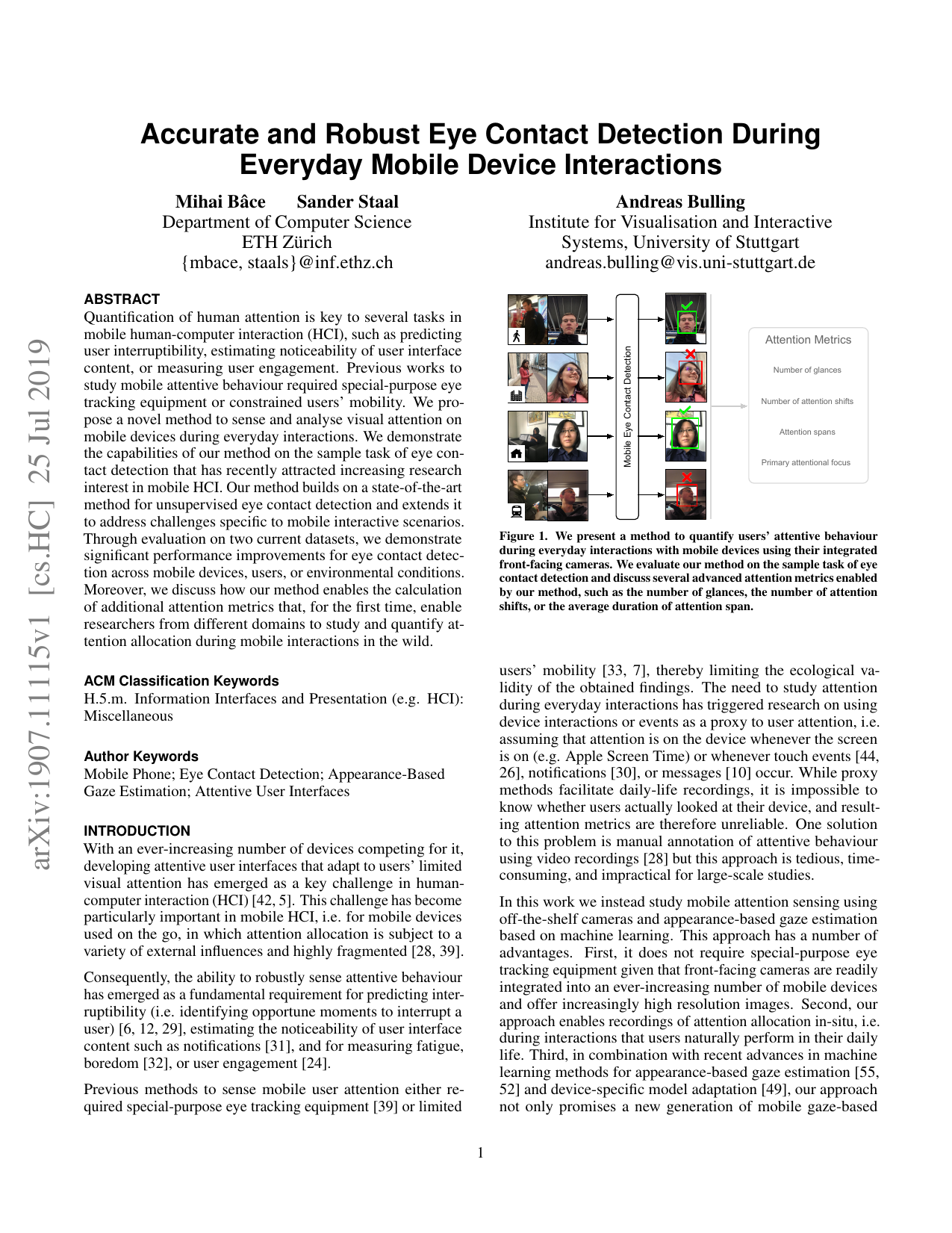 Accurate and Robust Eye Contact Detection During Everyday Mobile Device Interactions