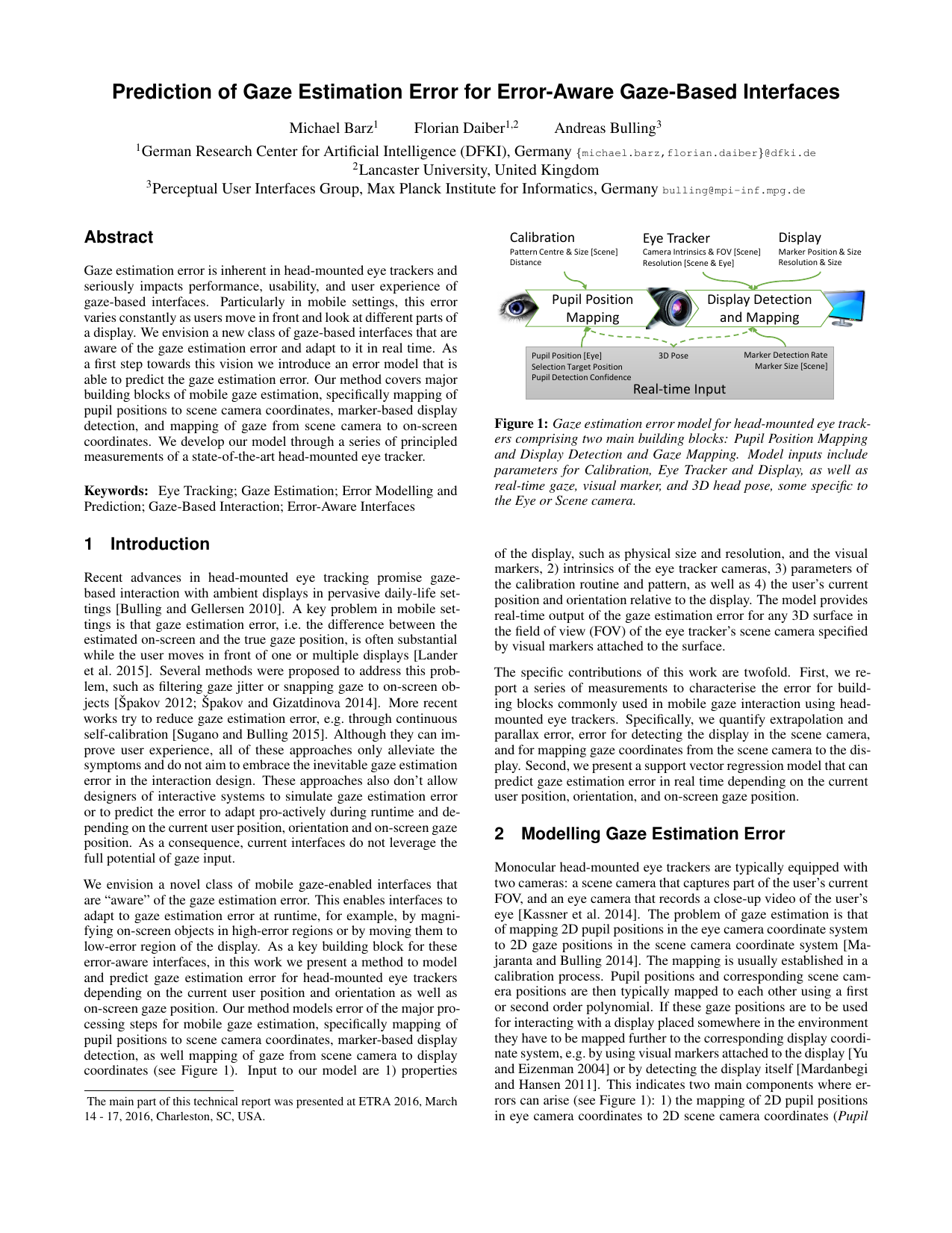 Computational Modelling and Prediction of Gaze Estimation Error for Head-mounted Eye Trackers