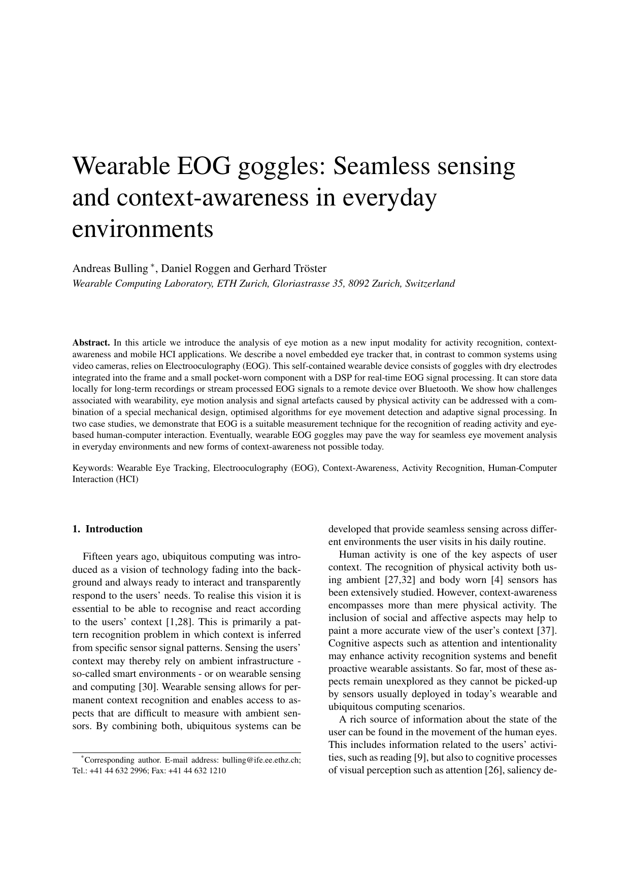 Wearable EOG goggles: Seamless sensing and context-awareness in everyday environments