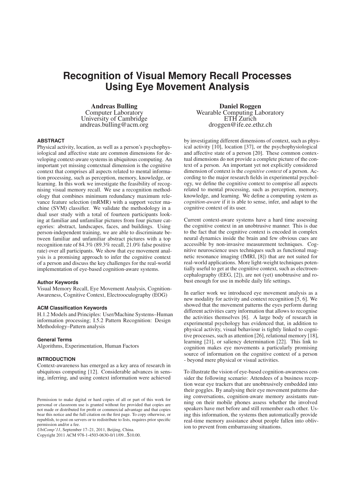 Recognition of Visual Memory Recall Processes Using Eye Movement Analysis
