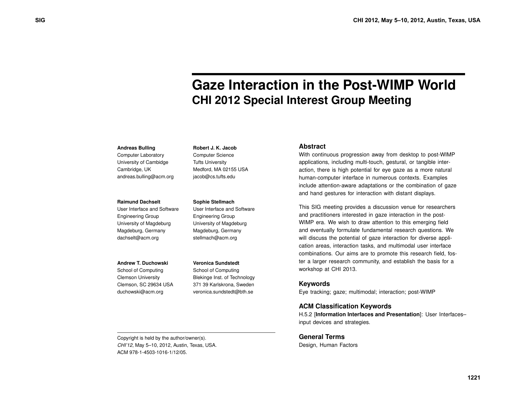 Gaze interaction in the post-WIMP world