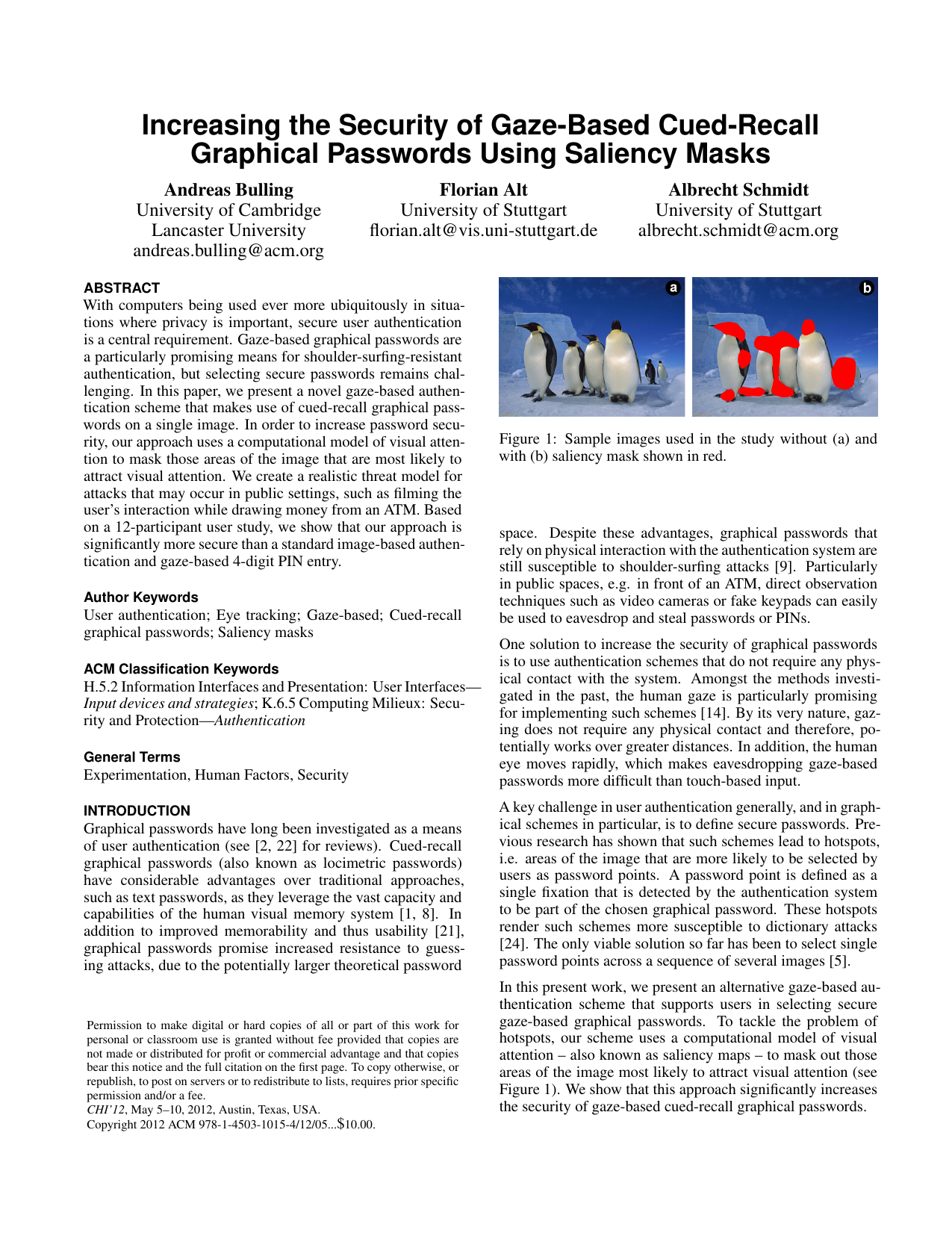 Increasing the Security of Gaze-Based Cued-Recall Graphical Passwords Using Saliency Masks