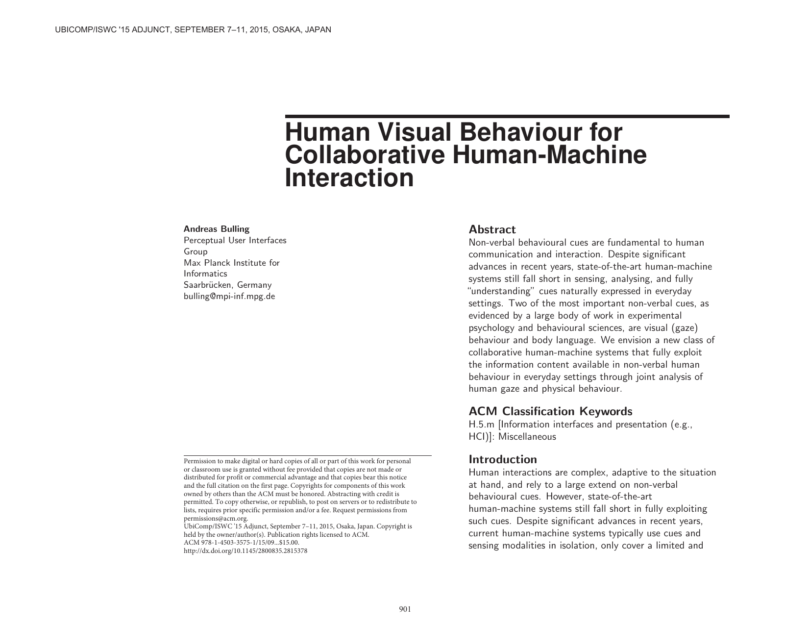 Human Visual Behaviour for Collaborative Human-Machine Interaction