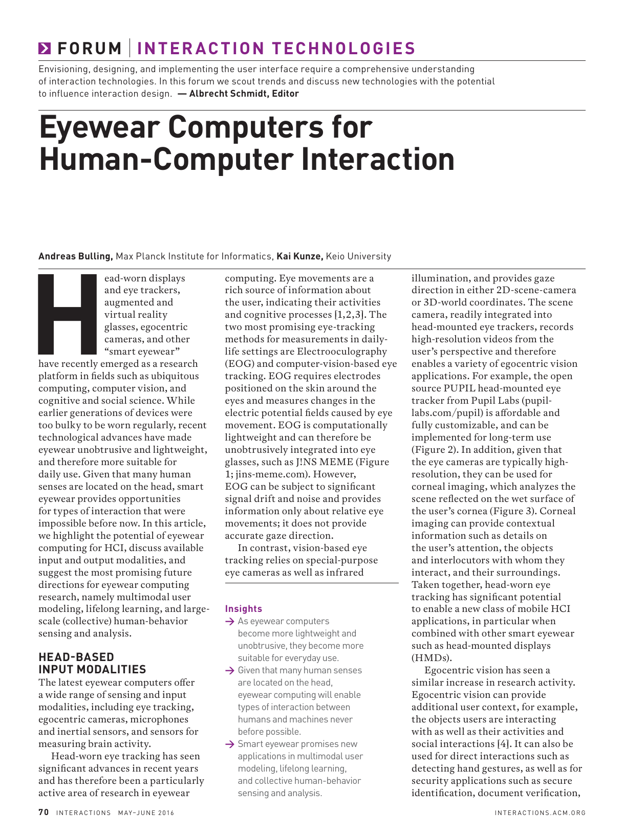 EyeWear Computers for Human-Computer Interaction