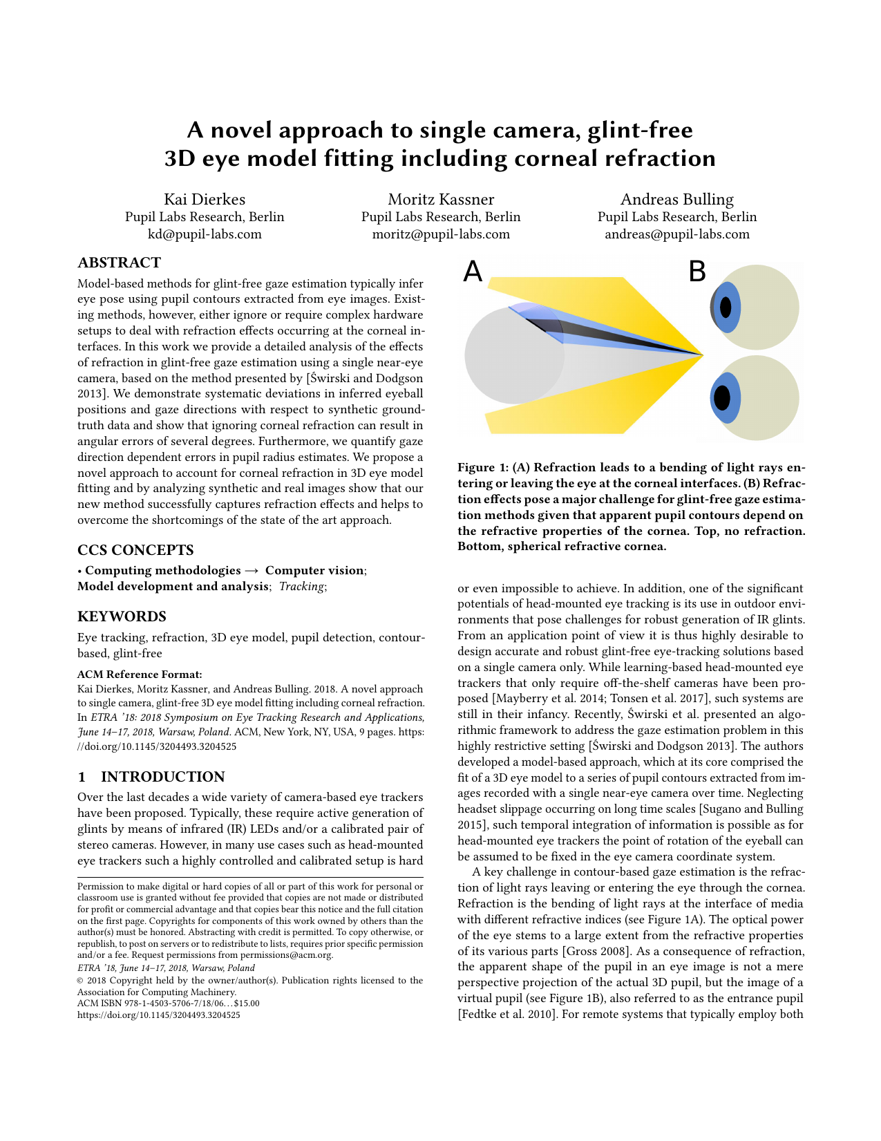 A novel approach to single camera, glint-free 3D eye model fitting including corneal refraction