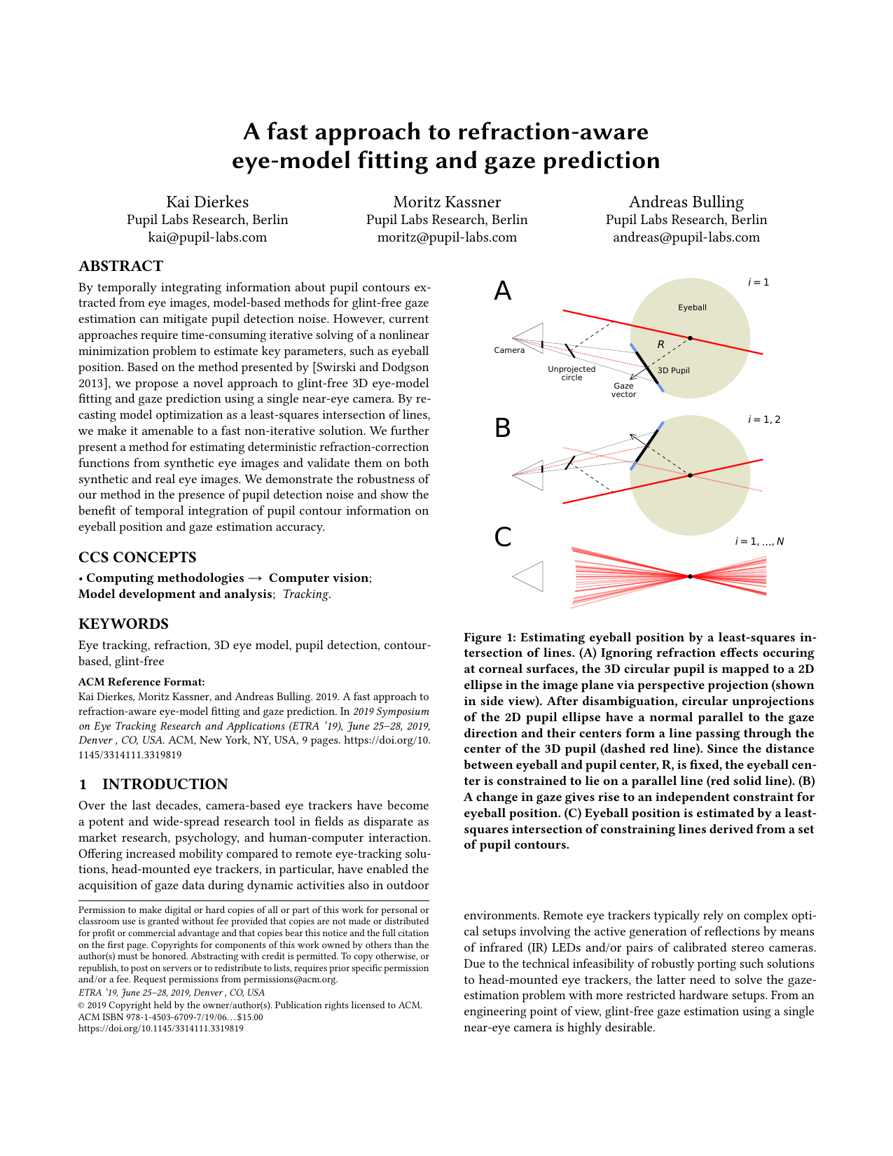 A fast approach to refraction-aware 3D eye-model fitting and gaze prediction