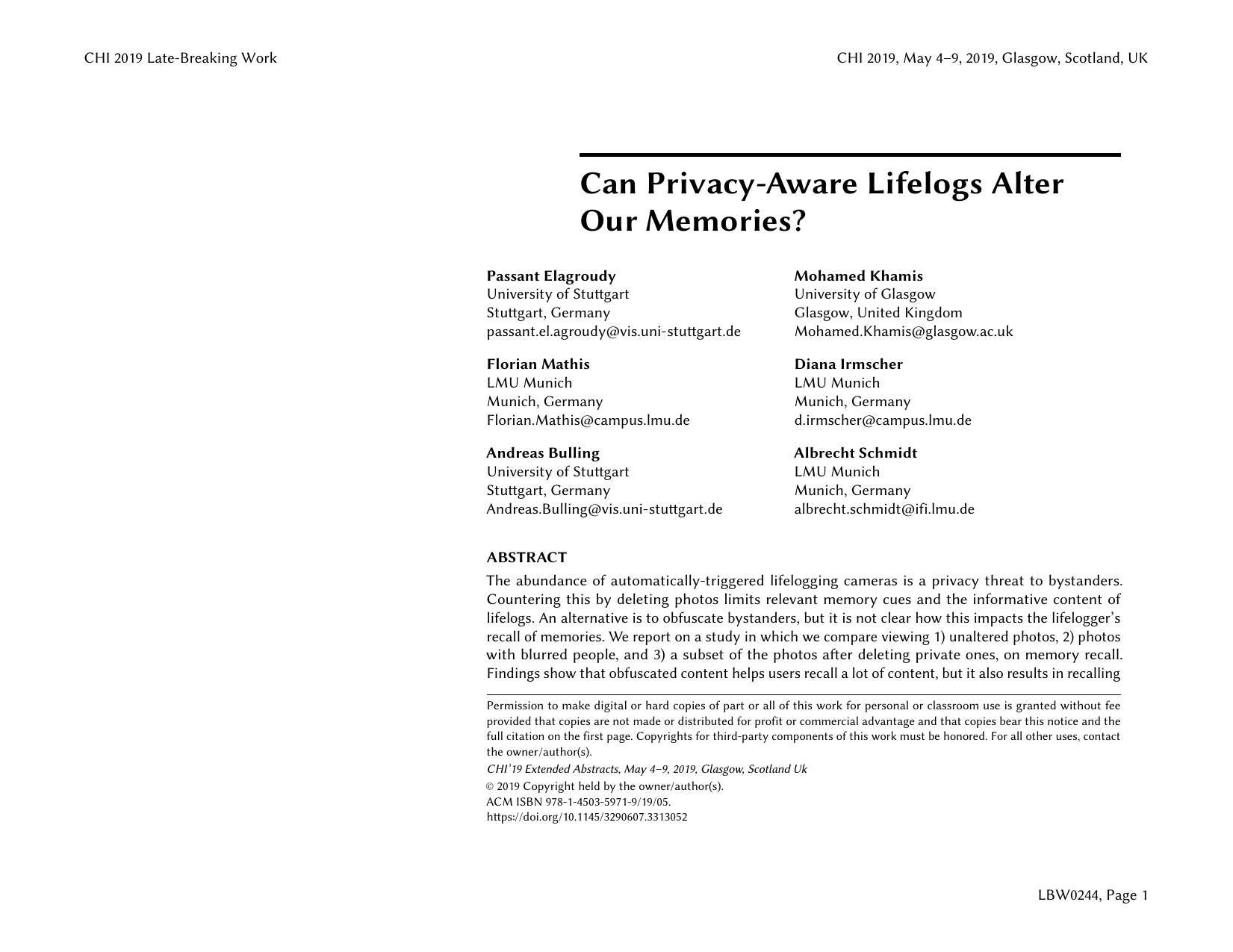 Can Privacy-Aware Lifelogs Alter Our Memories?