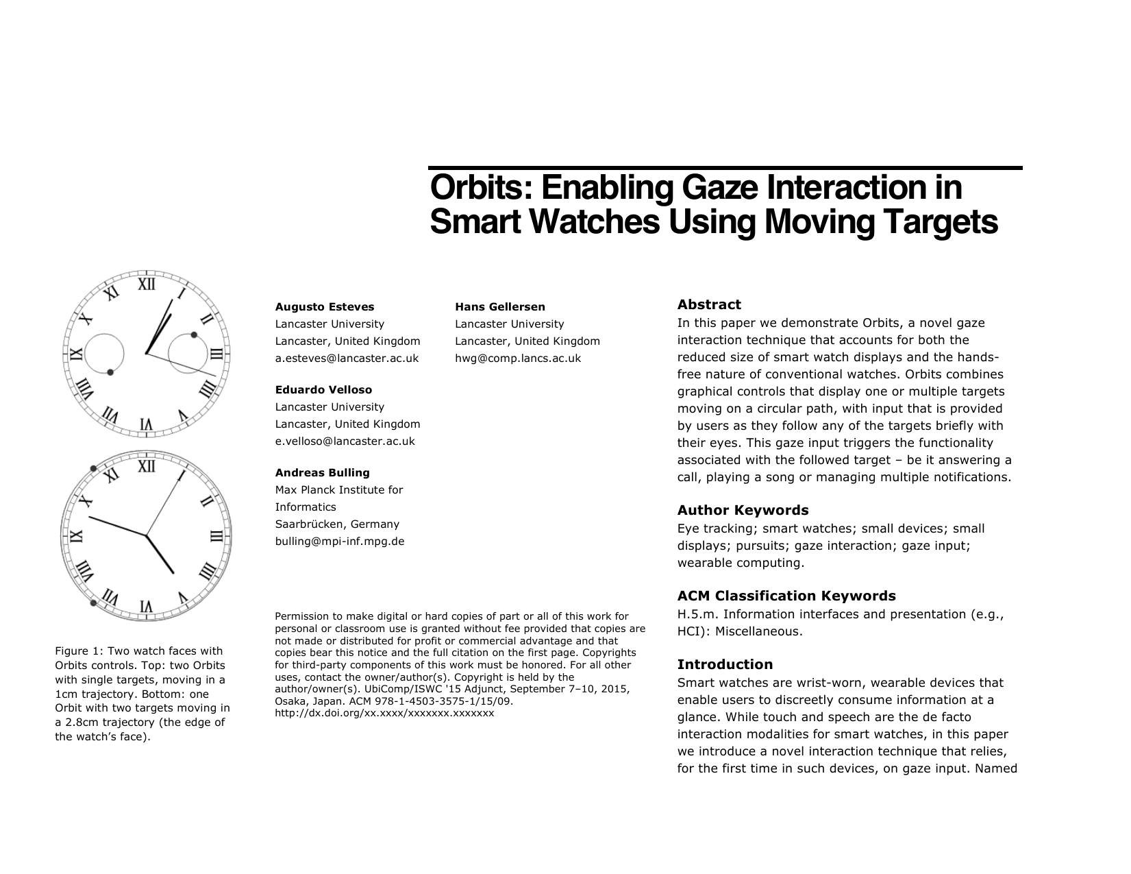 Orbits: Enabling Gaze Interaction in Smart Watches using Moving Targets