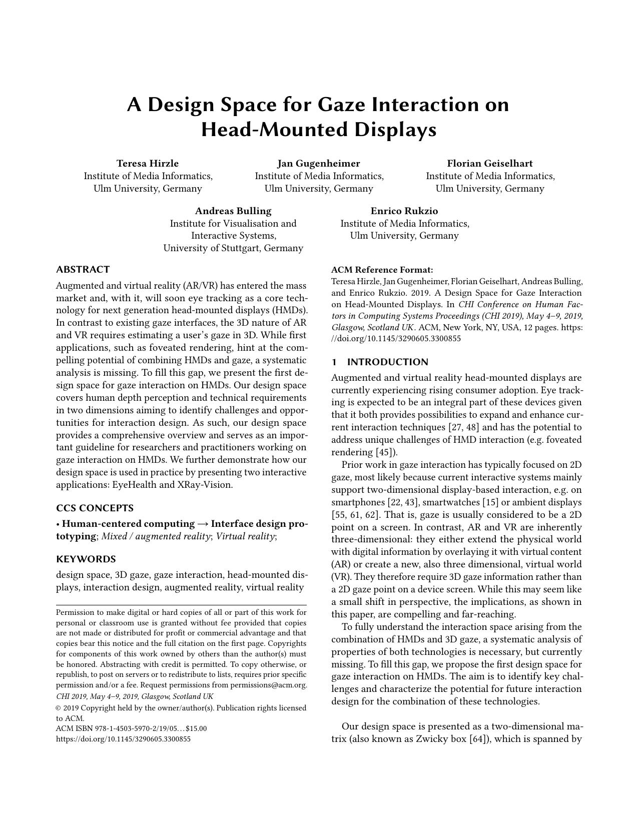 A Design Space for Gaze Interaction on Head-mounted Displays