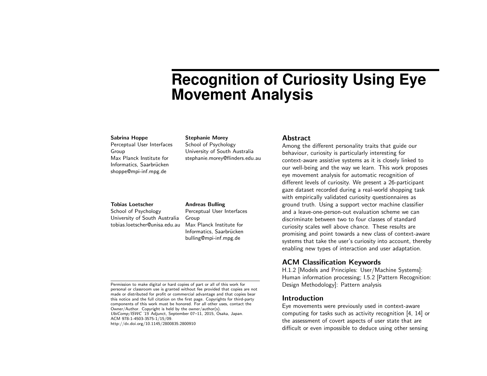 Recognition of Curiosity Using Eye Movement Analysis