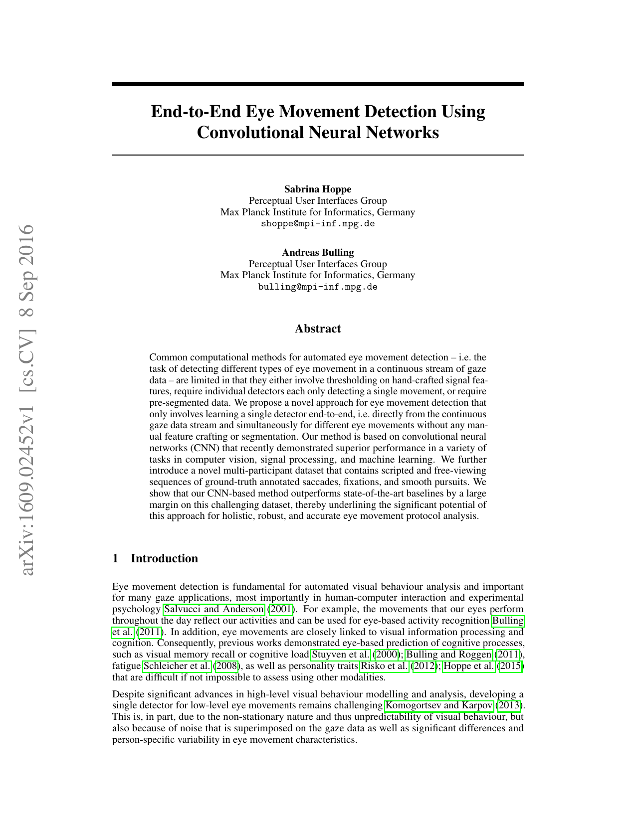 End-to-End Eye Movement Detection Using Convolutional Neural Networks