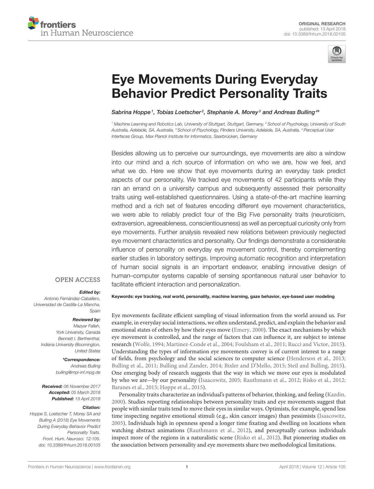 Eye movements during everyday behavior predict personality traits