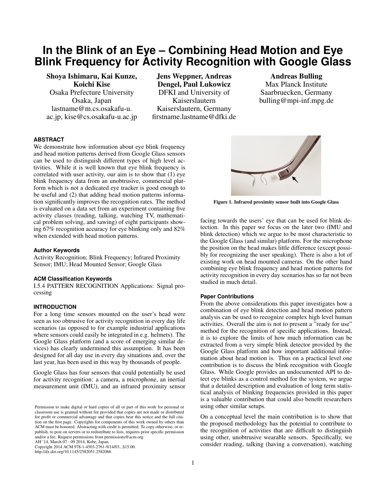 In the Blink of an Eye: Combining Head Motion and Eye Blink Frequency for Activity Recognition with Google Glass