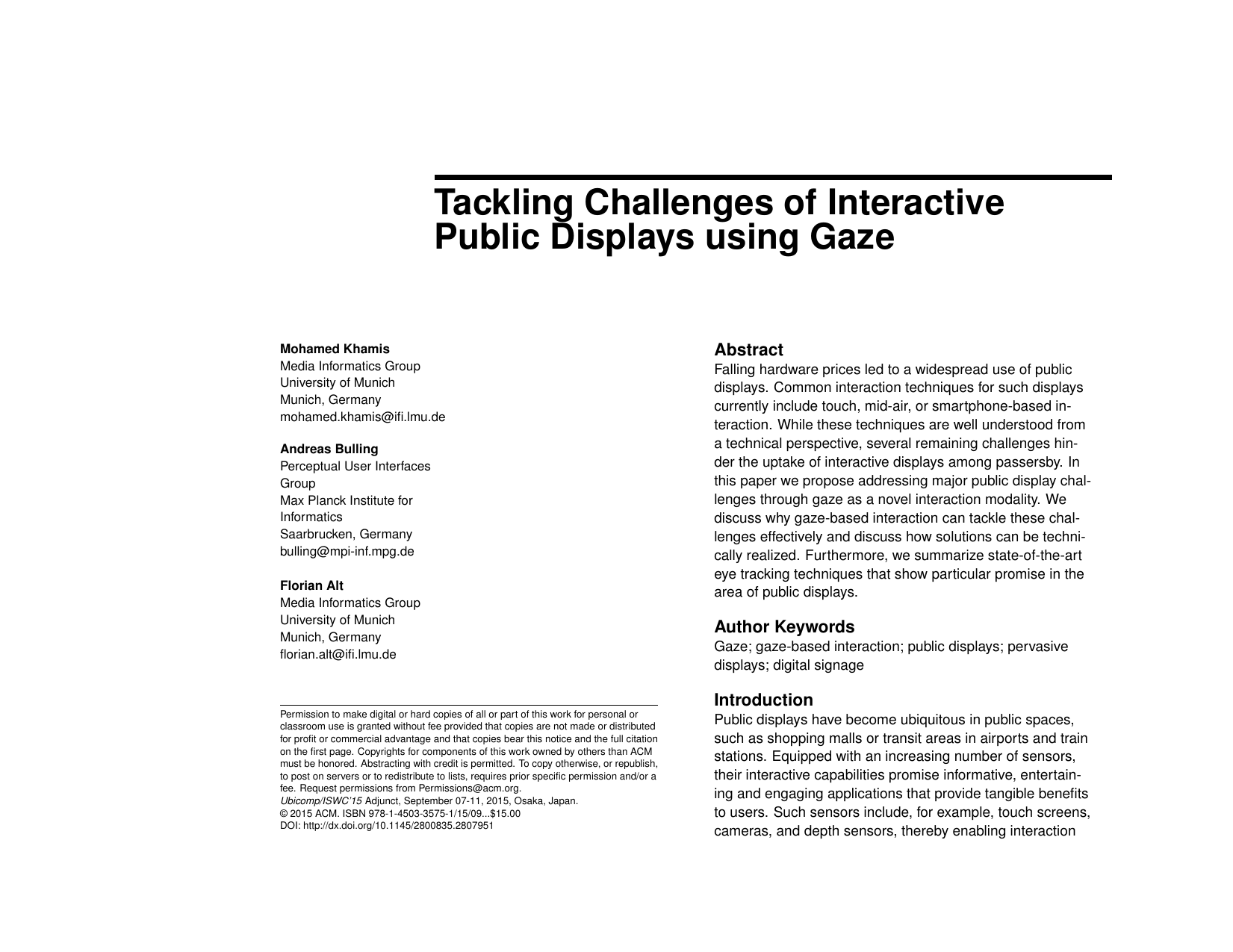 Tackling Challenges of Interactive Public Displays using Gaze