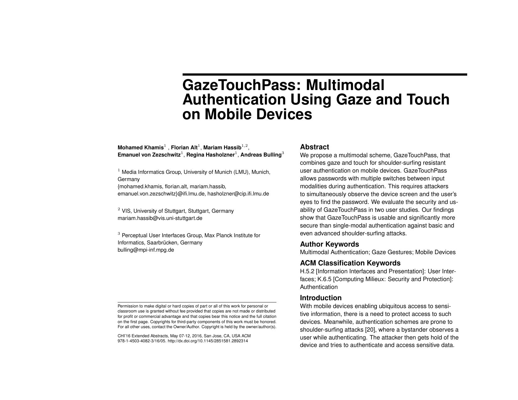 GazeTouchPass: Multimodal Authentication Using Gaze and Touch on Mobile Devices