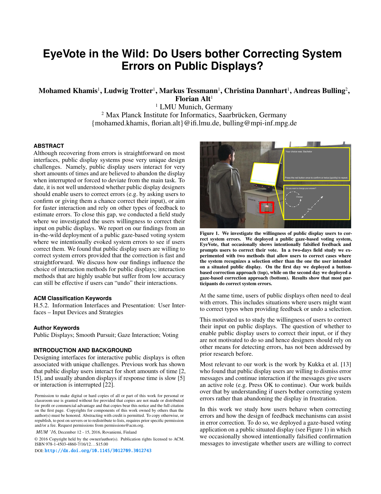 EyeVote in the Wild: Do Users bother Correcting System Errors on Public Displays?