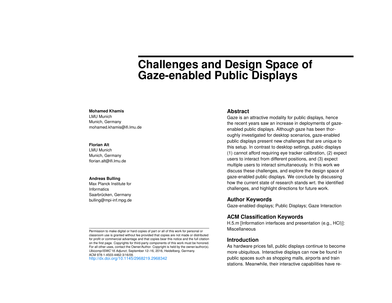 Challenges and Design Space of Gaze-enabled Public Displays