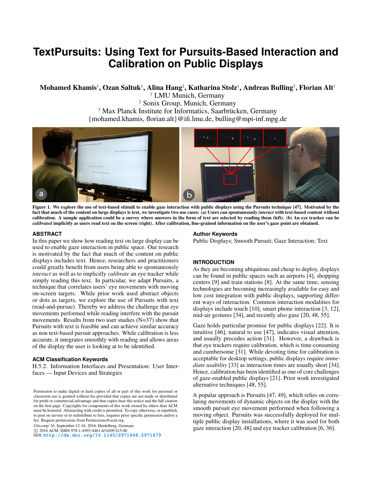 TextPursuits: Using Text for Pursuits-Based Interaction and Calibration on Public Displays