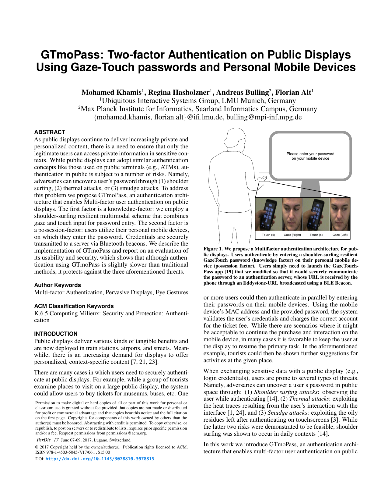 GTmoPass: Two-factor Authentication on Public Displays Using GazeTouch passwords and Personal Mobile Devices