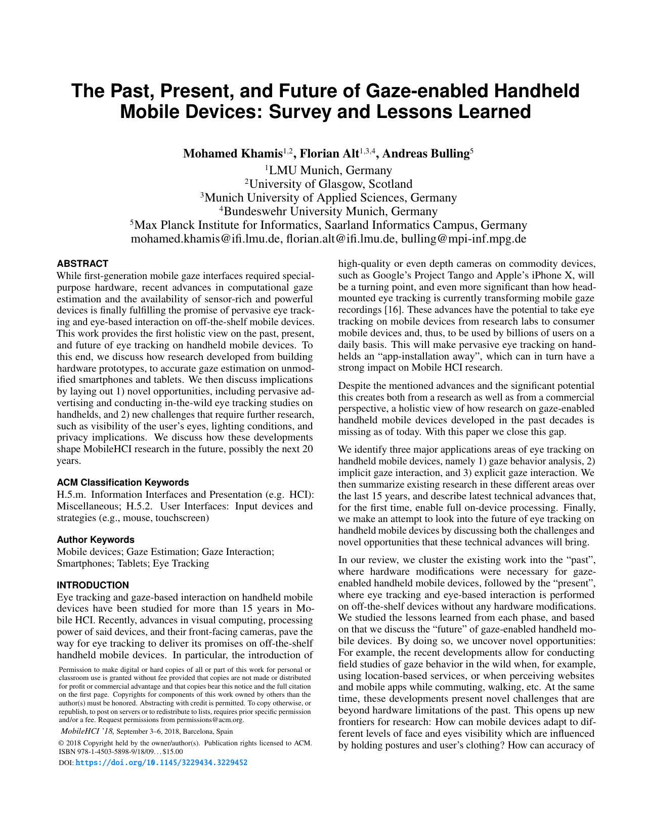 The Past, Present, and Future of Gaze-enabled Handheld Mobile Devices: Survey and Lessons Learned