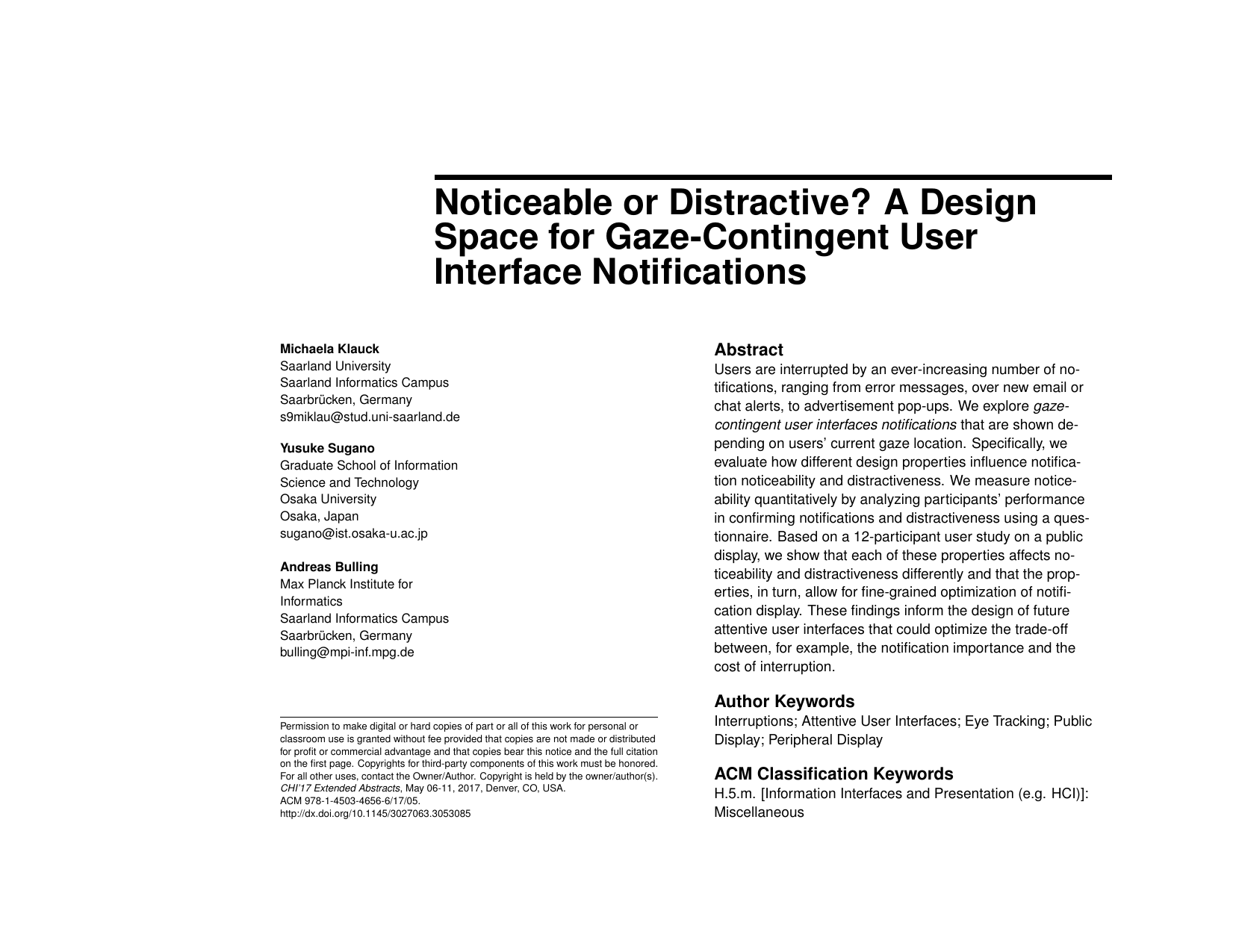 Noticeable or Distractive? A Design Space for Gaze-Contingent User Interface Notifications