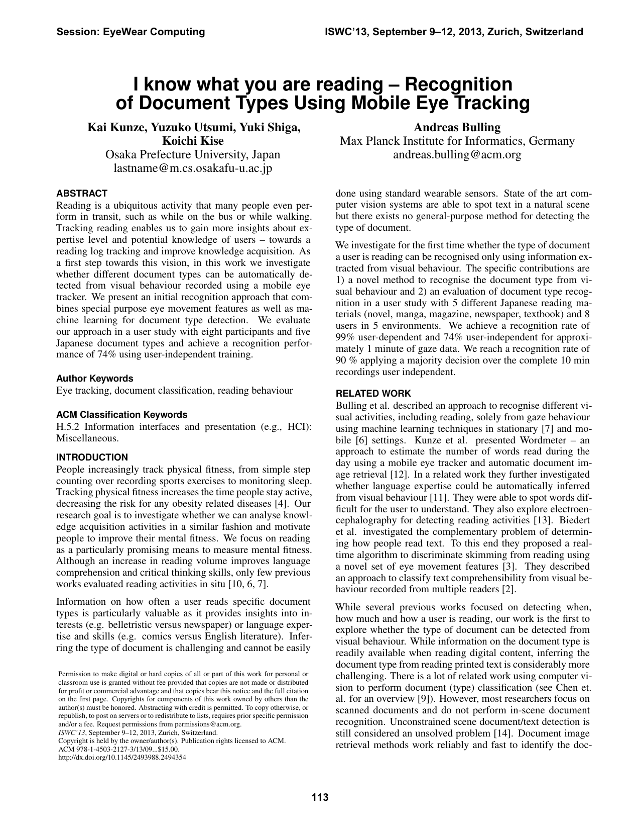I know what you are reading – Recognition of document types using mobile eye tracking