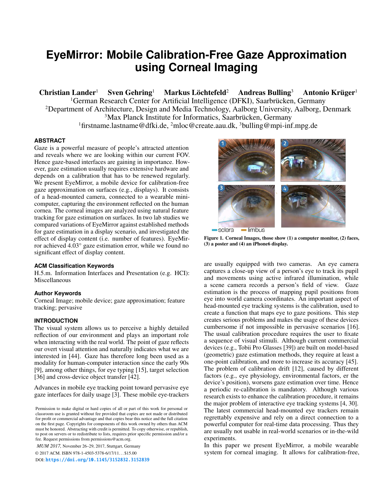 EyeMirror: Mobile Calibration-Free Gaze Approximation using Corneal Imaging
