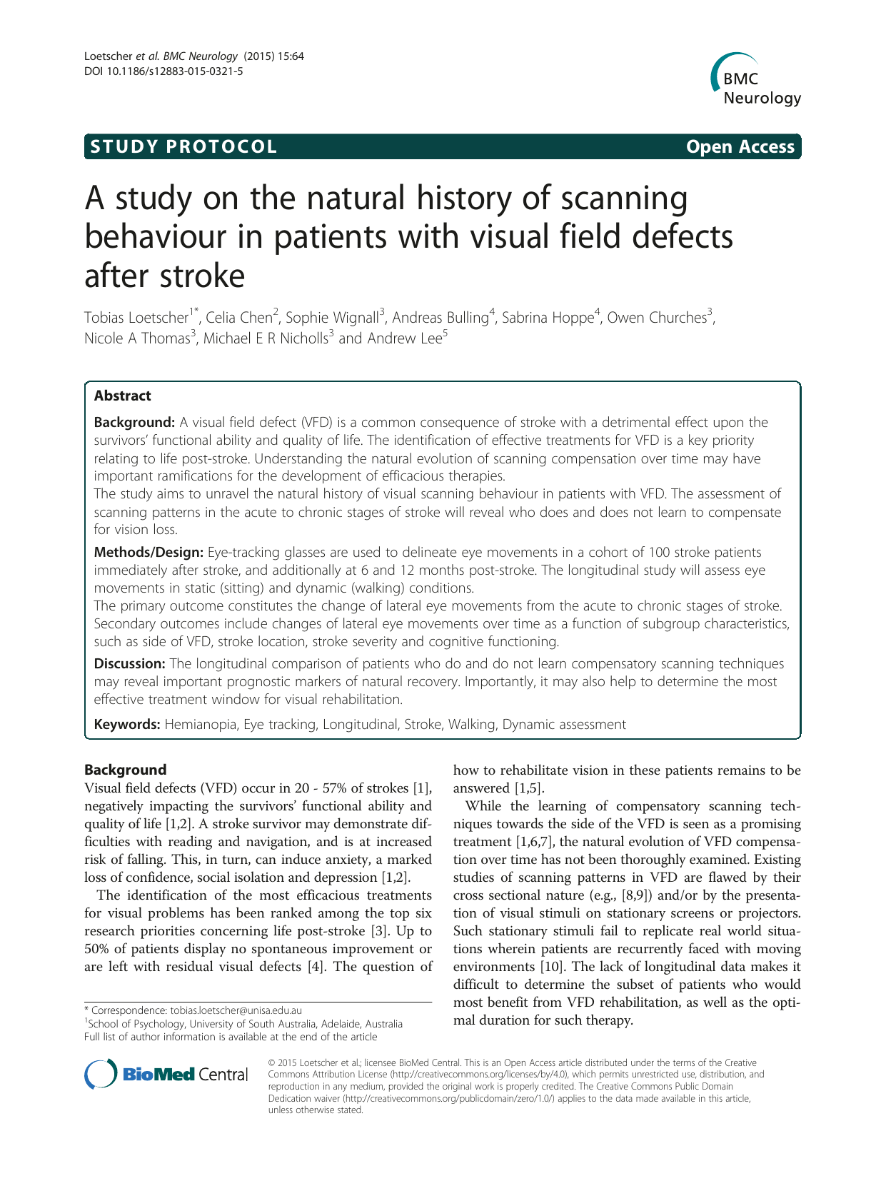 A study on the natural history of scanning behaviour in patients with visual field defects after stroke