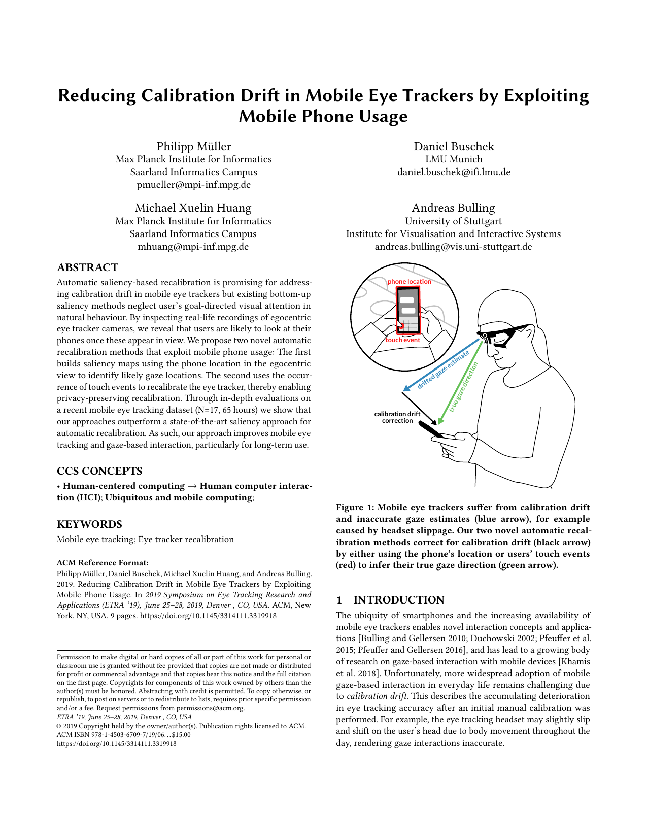 Reducing Calibration Drift in Mobile Eye Trackers by Exploiting Mobile Phone Usage