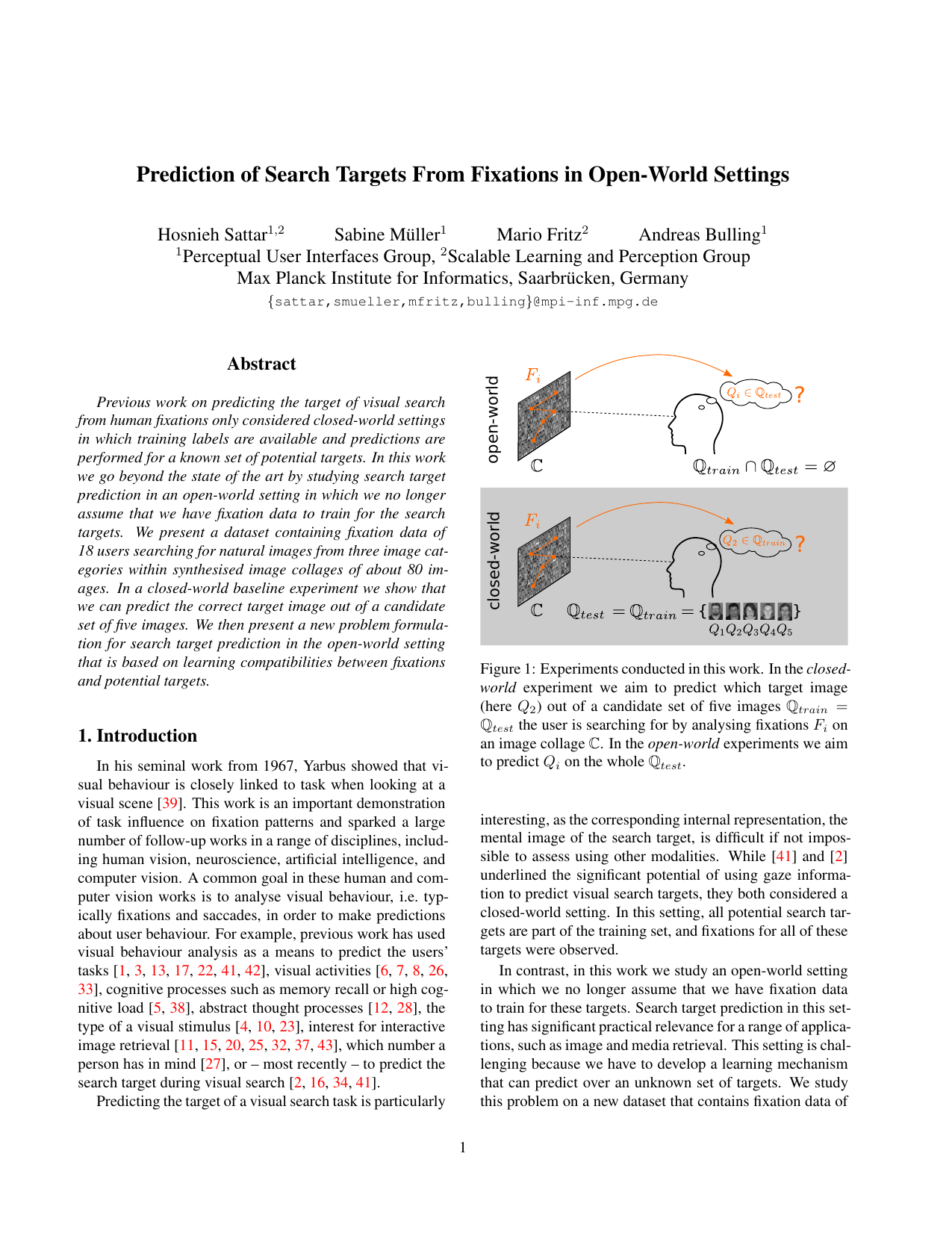 Prediction of Search Targets From Fixations in Open-world Settings