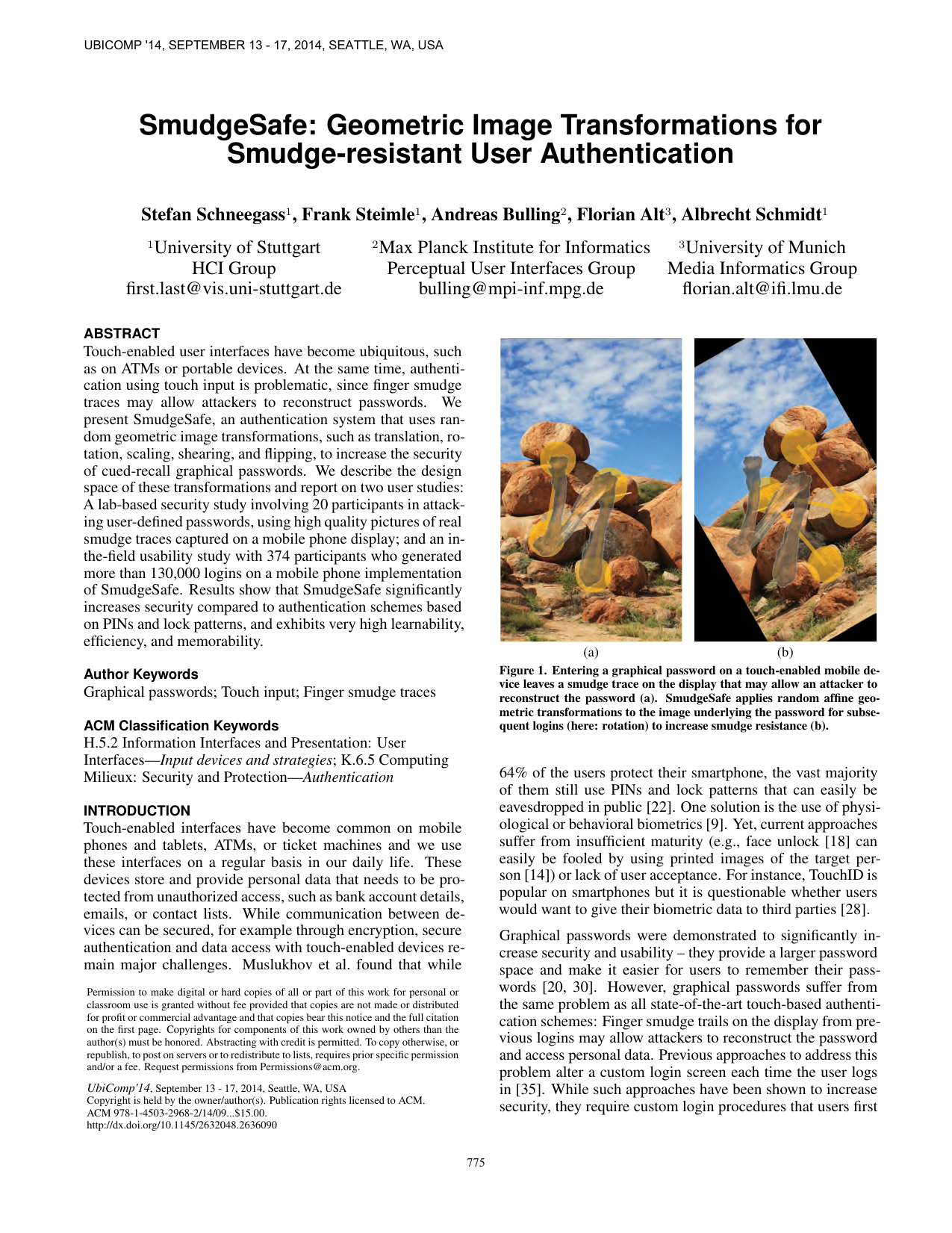 SmudgeSafe: Geometric Image Transformations for Smudge-resistant User Authentication