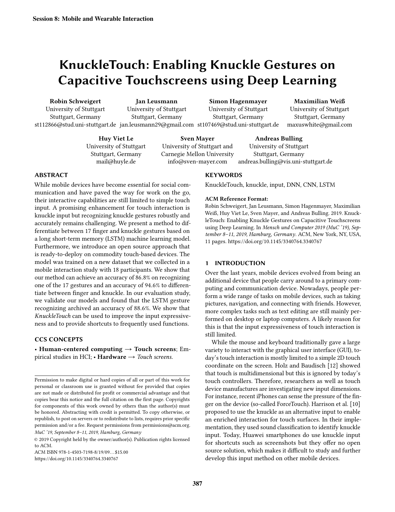 KnuckleTouch: Enabling Knuckle Gestures on Capacitive Touchscreens using Deep Learning