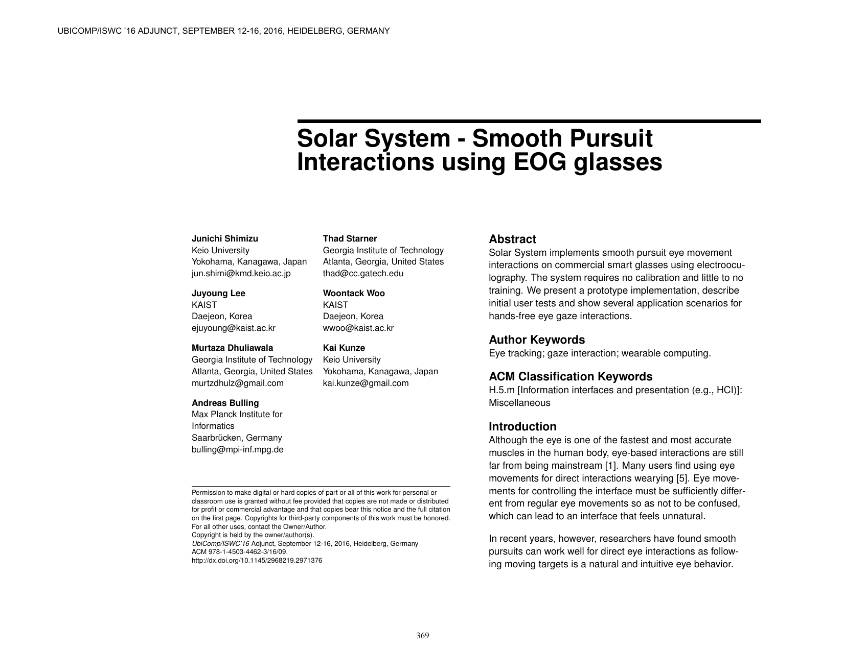 Solar System: Smooth Pursuit Interactions Using EOG Glasses