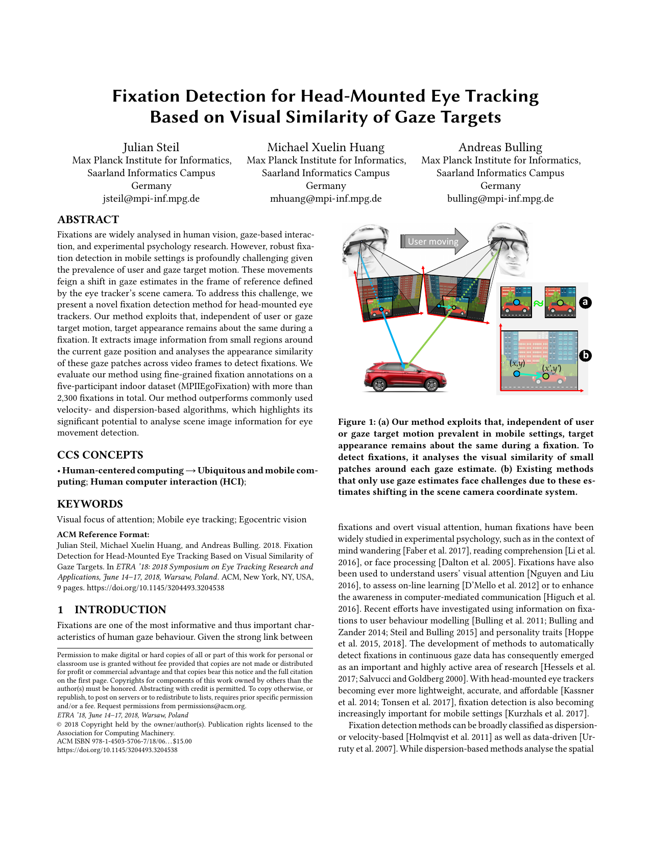Fixation Detection for Head-Mounted Eye Tracking Based on Visual Similarity of Gaze Targets