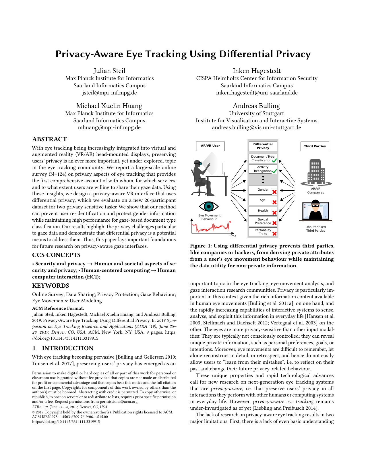 Privacy-Aware Eye Tracking Using Differential Privacy