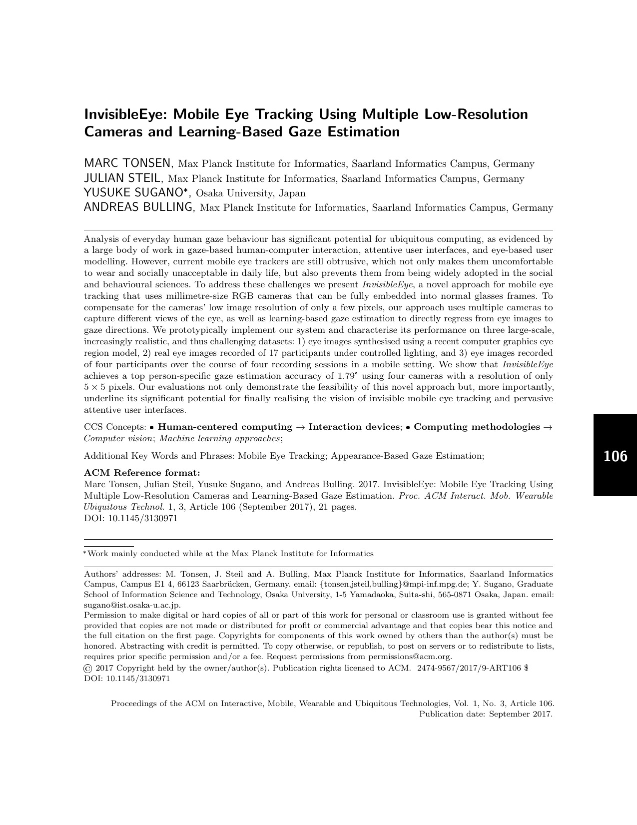 InvisibleEye: Mobile Eye Tracking Using Multiple Low-Resolution Cameras and Learning-Based Gaze Estimation
