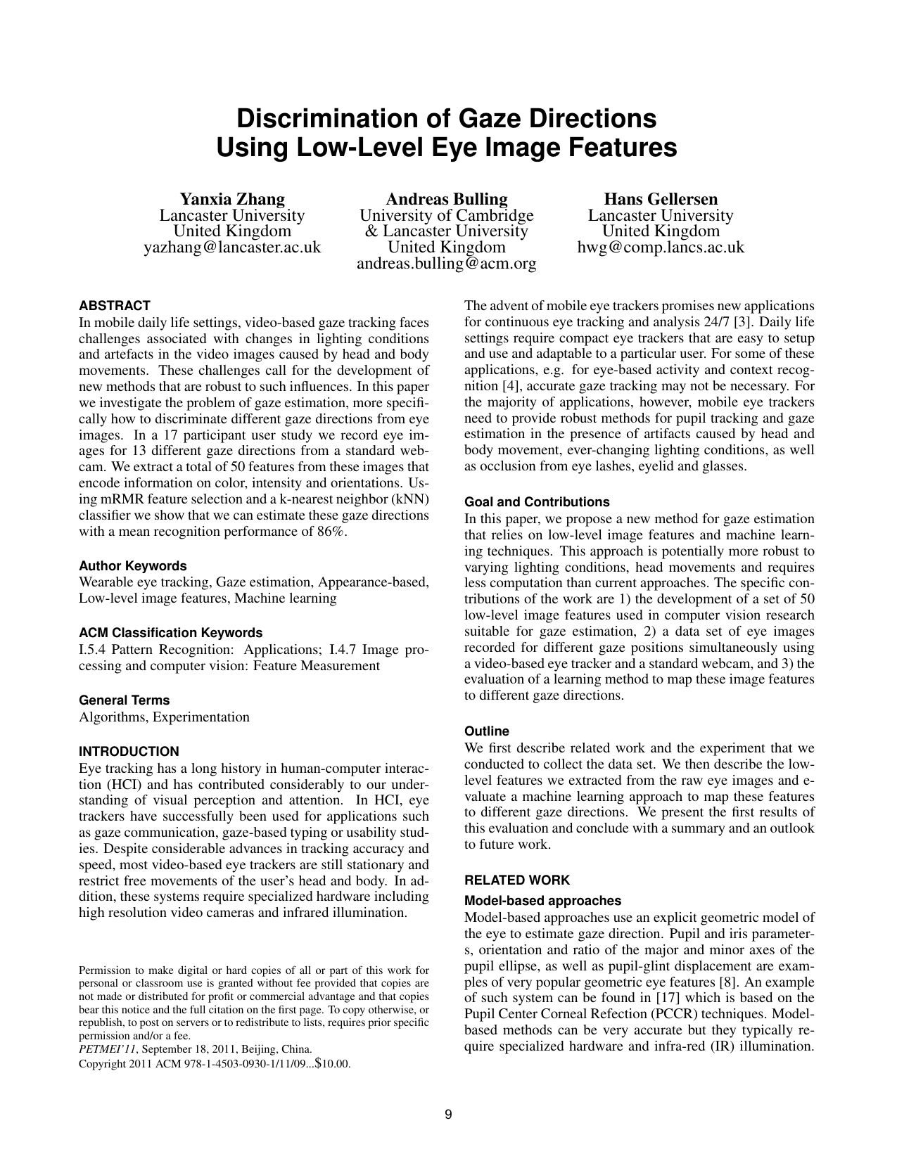 Discrimination of Gaze Directions Using Low-Level Eye Image Features